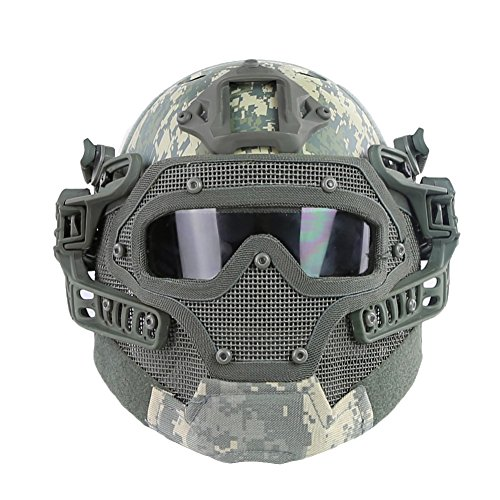 HYOUT Fast Tactical Helmet Combined with Full Mask and Goggles for Airsoft Paintball CS (ACU) by HYOUT