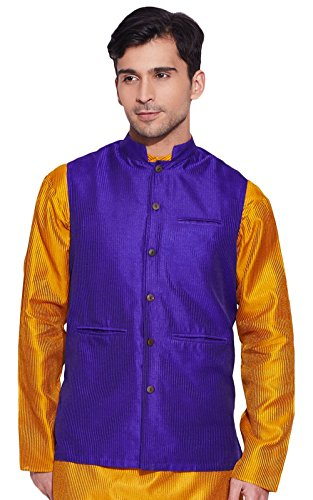Men Sleeve Less Designer Faux Silk Nehru Jacket Casual Wear Plain - Less Designer Styles For