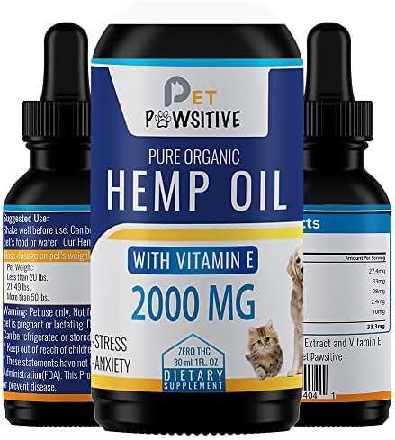 Pet Pawsitive - Hemp Oil Dogs Cats - 2000mg - 100% Organic - Calming Drops