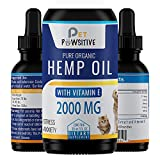 Pet Pawsitive - Hemp Oil Dogs Cats - 2000mg - Separation Anxiety, Joint Pain, Stress Relief,...