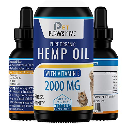 Pet Pawsitive - Hemp Oil Dogs Cats - 2000mg - Separation Anxiety, Joint Pain, Stress Relief, Arthritis, Seizures, Chronic Pains, Anti-Inflammatory - Omega 3, 6, & 9- 100% Organic - Calming Drops (Best Anti Anxiety Meds For Dogs)
