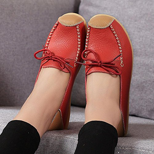 Transer Ladies Leisure Soft Flats Shoes, Women Slip on Work Loafers, Comfortable Leather Lazy Shoes Red