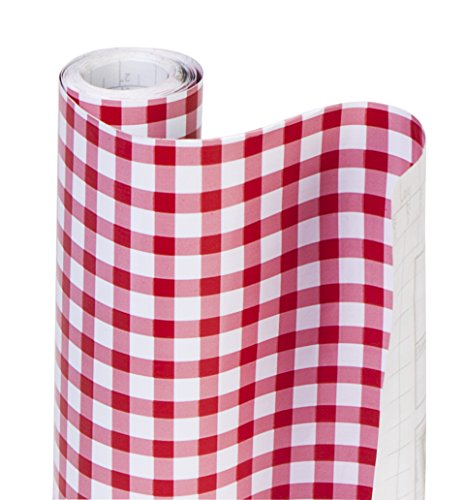 DAZZ 8607202 Ruby Red Gingham Adhesive Decorative Shelf Liner