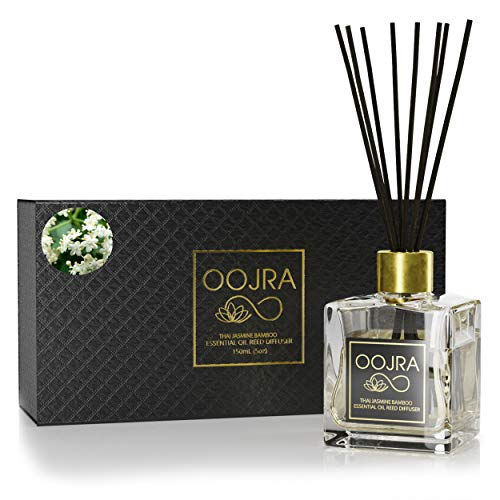 Oojra Thai Jasmine Bamboo Essential Oil Reed Diffuser Gift Set, Glass Bottle, Reed Sticks, Natural Scented Long Lasting Fragrance Oil (3+ Months 5 oz) for Aromatherapy and Air (Pink Star Jasmine)