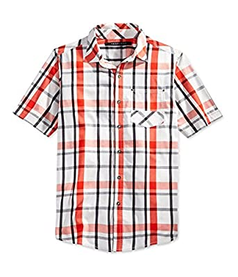 Sean John Mens Ss Plaid Button Up Shirt