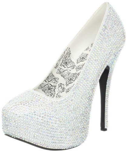 (Pleaser Women's Teeze 06R SSA Platform Pump,Silver Satin/Irid Rose,8 M US)