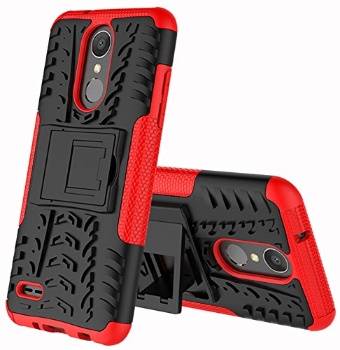(LG Zone 4 Case,LG Aristo 2/3, LG Phoenix 4, LG Tribute Empire/Dynasty SP200,LG Fortune 2,LG Risio 3,LG K8 (2018) Case,Yiakeng Wallet Hard Protective Flip Phone Cases with A Kickstand (Red))