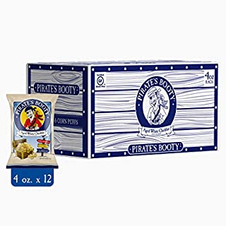 Pirate's Booty Cheese Puffs, Healthy Kids Snacks, Aged White Cheddar, 4oz (Pack of 12)