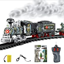 Boddenly Remote Control Conveyance Car Electric Steam Smoke RC Train Set Model Toy Gift for Kids (C)