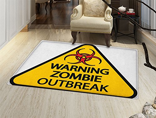 smallbeefly Zombie Door Mat outside Warning the Zombie Outbreak Sign Cemetery Infection Halloween Graphic Bathroom Mat for tub Non Slip Earth Yellow Red -