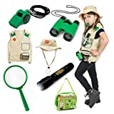 7 Piece Premium Outdoor Exploration Kit and Safari Costume for nature and pretend play.
