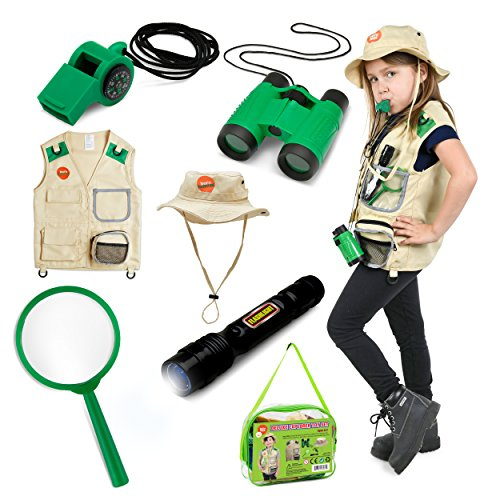 Born Toys 7 Piece Premium Outdoor Exploration Kit and Safari Costume for nature and pretend play.INCLUDES CROSSOVER-BAG by - Costume Kit