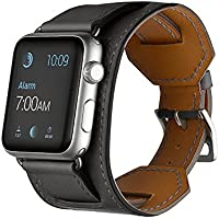 Apple Watch Band - MacTop 42mm Genuine Leather Apple Smart Watch Band Cuff Strap Design for Original 42mm iWatch...