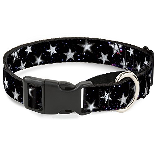 Buckle Down Glowing Stars in Space Black/Purple/White Martingale Dog Collar, 1
