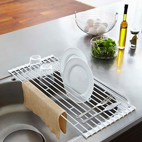 YAMAZAKI home Plate Folding Sink Drainer Rack, White, Large by YAMAZAKI home