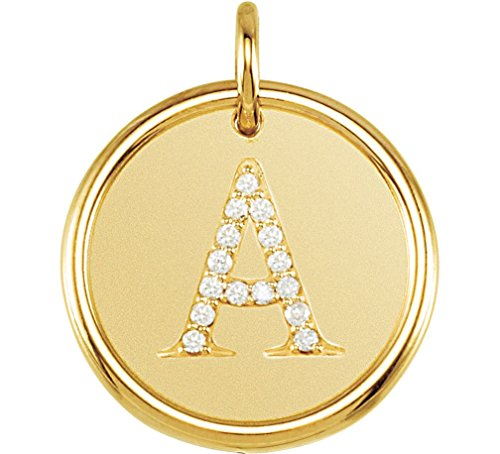 Diamond Initial ''A'' Round Pendant, 18k Yellow Gold-Plated Sterling Silver (.07 Ctw, Color G-H, Clarity I1 ) by The Men's Jewelry Store (for HER)