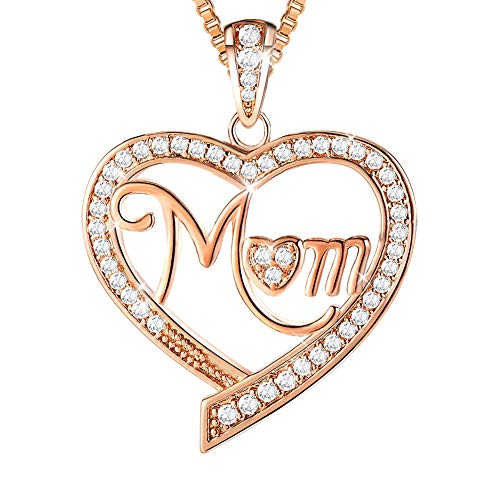Ado Glo Mother's Birthday Gift 'Mom' Love Heart Pendant Necklace, Rose Gold Fashion Jewelry for Women, Anniversary Present from Children, Daughter, Son to Her