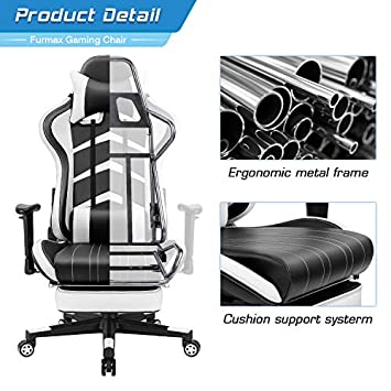 Furmax Gaming Chair High Back Office Racing Chair, Ergonomic Swivel Computer Chair Executive Leather Desk Chair with Footrest, Bucket Seat and Lumbar Support White