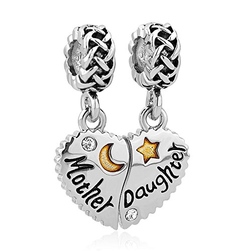 CharmSStory Mother Mom Daughter Heart Love Dangle Charm Beads for Snake Chain Bracelet (Style 2) (Mom Charm Bead)