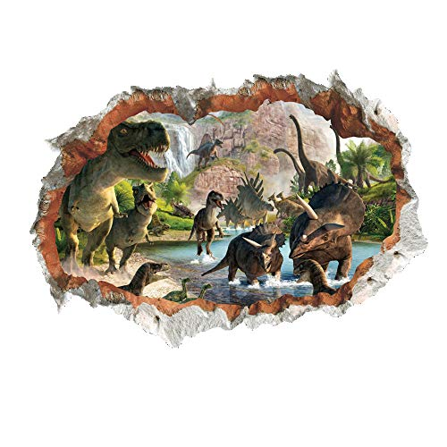 MLM 3D Dinosaurs Simulation Crack Hole Stickers Self-adhesive Peel and Stick Wall Decal Mural Living Room Bedroom Kids' Room Nursery Decor Playroom Decor -