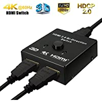 HDMI 2.0 Bi-Directional Switch, Fiveboy AB Manual Selector Switcher Box, 1 In 2 Out or 2 In 1 Out, Support 4Kx2K@60Hz, 3D,1080P for Nintendo Switch, XBox 360, XBox One, PS3, PS4, HDTV, Blu-Ray DVD