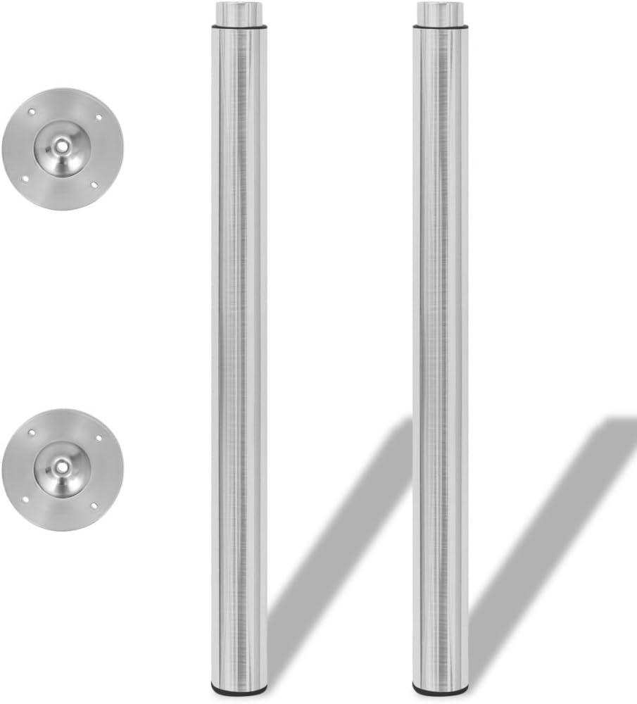 FAMIROSA 2 Patas Telesc/ópicas para Mesa 710mm-1100mm Color N/íquel Pulido