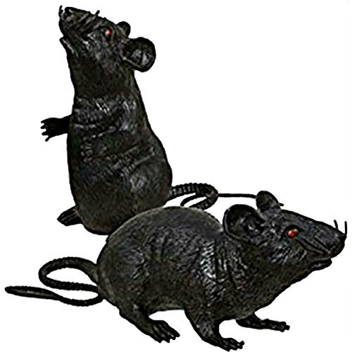 Medium Sized Black Plastic Squeaky Creepy Rats (2