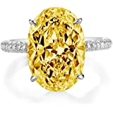 Bo.Dream Rhodium Plated Sterling Silver Yellow 5 Carat Oval Cut Cubic Zirconia CZ Engagement Rings