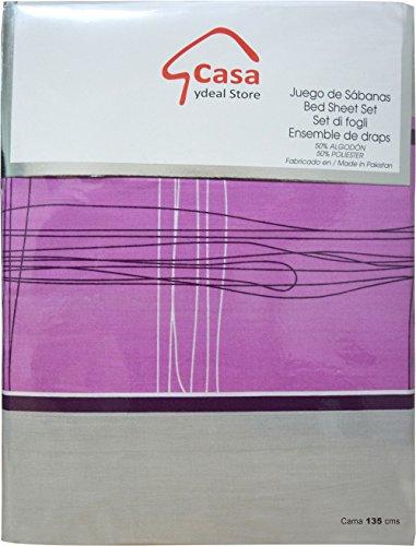 Casa Ydeal Store Juego de Sábanas Rayas 50% algodón 50% poliéster (135cm, Violeta): Amazon.es: Hogar