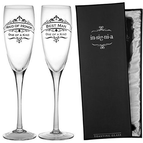 Best Man Maid Of Honor - Enesco Set of 2 Wedding Champagne Flute 11oz Glasses Pack Maid Of Honor & Best Man