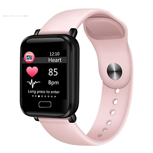 Pink Women Smart Watches Waterproof Sports For iPhone Phone ...