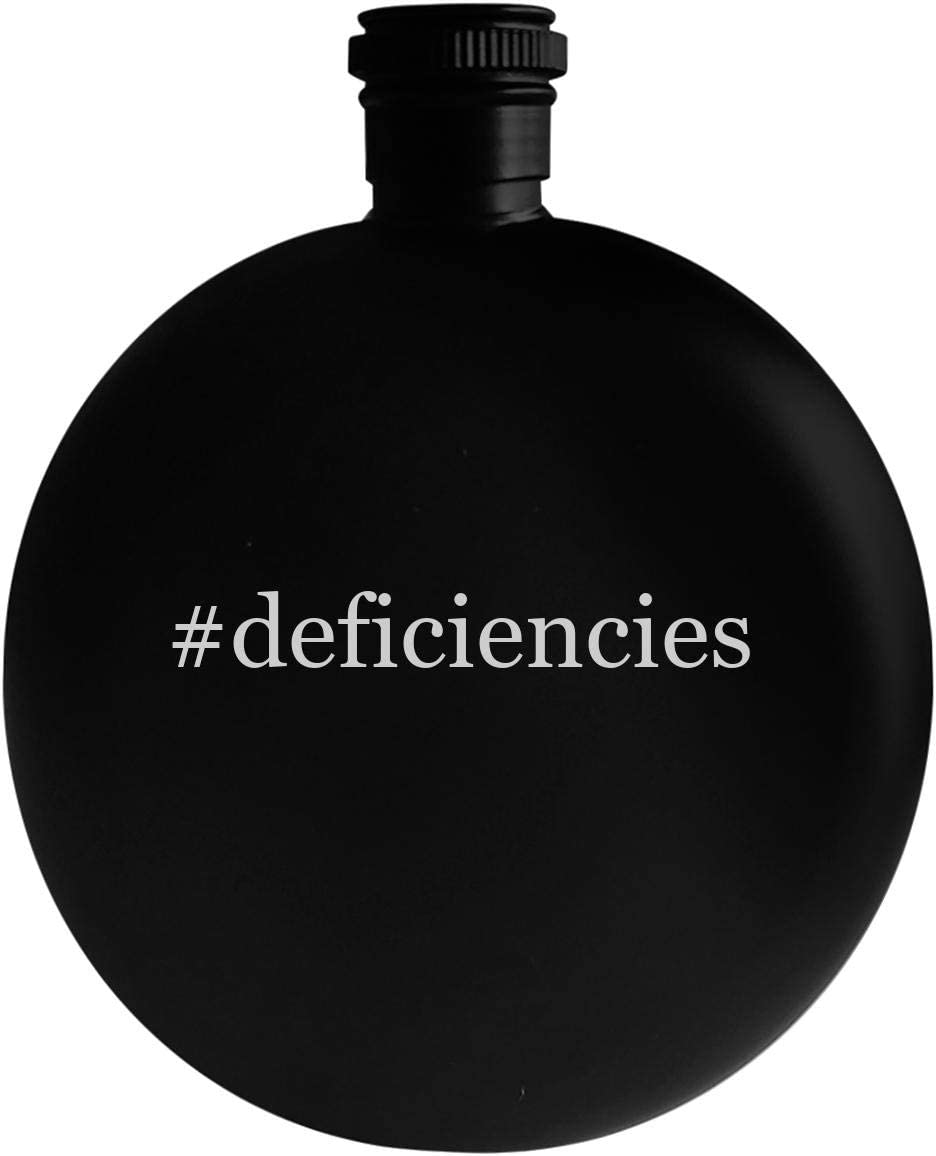#deficiencies - 5oz Hashtag Round Alcohol Drinking Flask, Black