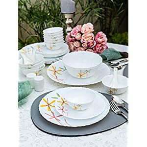 La Opala Autumn Flower Novo Collection Opalware Dinner Set, 35 Pieces, White