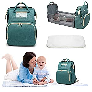 3 in 1 Baby Travel Cot,Portable Travel Foldable Diaper Changing Station Mummy Bag Backpack,Foldable Baby Cot Bed…