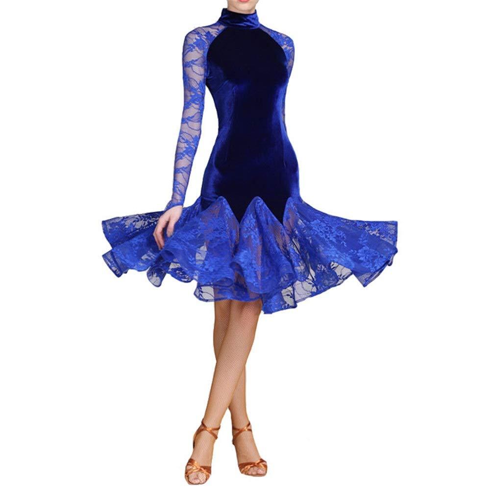 Bleu X-grand Robes de Danse pour Femmes Femmes léopard Imprimer Robe de Danse Latine côté Split Rétro Cheongsam Robe lyrique Salle de Bal Dancewear Moderne Valse Danse Costume Prom Robe de soirée Costume de Danse