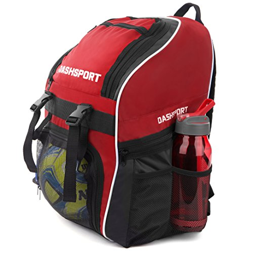 Soccer Backpack / Basketball Backpack - Youth Kids Ages 6 and Up - by DashSport - All Sports Bag Gym Tote Soccer Futbol Basketball Football Volleyball (Ball Futbol)