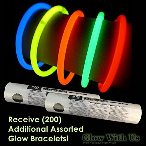 200 Glow Sticks Bulk Wholesale Necklaces, 22'' Glow Stick Necklaces+200 FREE Glow Bracelets! Bright Colors Glow 8-12 Hr, Connector Pre-attached(handy), Glow-in-the-dark Party Supplies, GlowWithUs Brand by Glow With Us (Image #3)