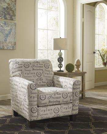 Alenya Collection 1660021 35 Accent Chair with Fabric Upholstery Piped Stitching Tapered Block Feet and Casual Style in Quartz