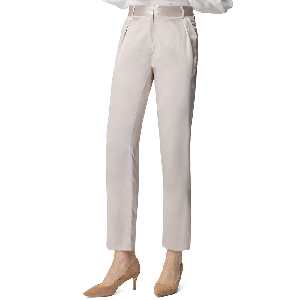 LilySilk Silk Straight Pants For Women Full Length 22MM Charmeuse Pure Real Mulberry Breathable Comfortable Bright Coffee XL/14-16
