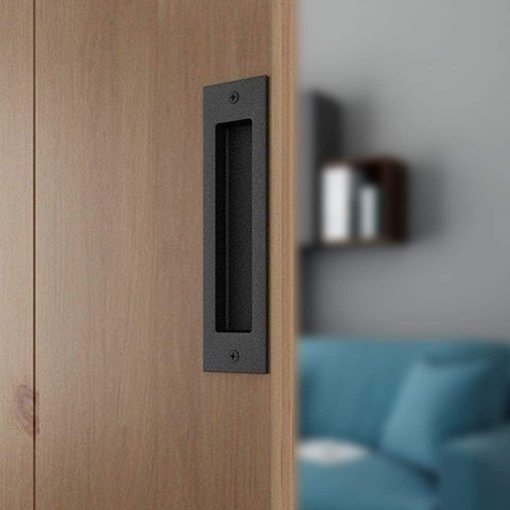 Flush Pull 6-1//2inch Matte Black Frosted Handle for Sliding Barn Door Hardware Finger Pull Black