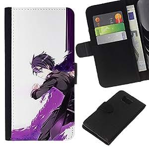 Protector de cuero de la PU de la cubierta del estilo de la carpeta del tirón BY RAYDREAMMM - Samsung ALPHA G850 - Cartoon Espada Guerrero Púrpura