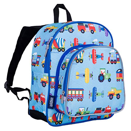 (Wildkin 12 Inch Backpack, Trains Planes & Trucks)