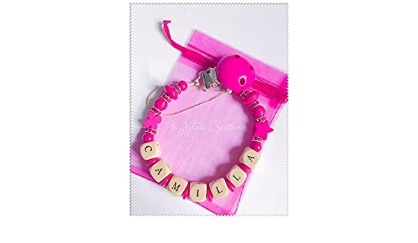 Cadena de chupete rosa | chupetero con nombre adaptable ...