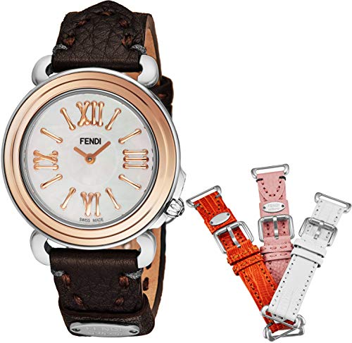 White Fendi Leather (Fendi Selleria Womens Watch Set with Interchangeable Bands - Mother of Pearl Face Swiss Dress Watch - Brown, Orange, Pink, and White Leather Bands Stainless Steel Rose Gold Ladies Watch F8012345H0)