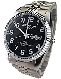 Reloj de Hombre Swanson Japan Watch Mens Silver Black Dial With White Number Day-Date