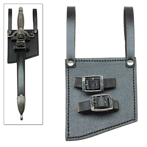 (Medieval Sword Frog Renaissance Dagger Belt Holster Black Leather)