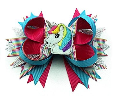 Unicorn Pony Single Bow Barrette Multi Color