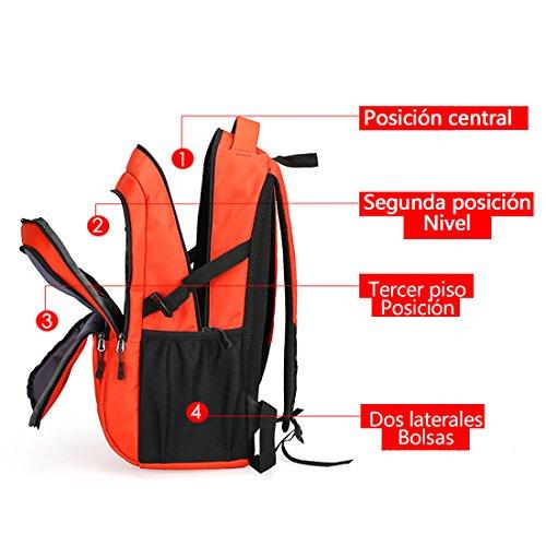 Maod Hombres Impermeables Bolsa de Ordenador Color Sólido Bolso del Senderismo Portátil Mochilas Estudiantes Deporte Mochila de Escolar Backpack (Negro) Naranja