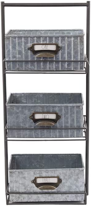 Rae Dunn 3 Tier Desk Organizer – Galvanized Steel Caddy with Solid Wood Handle and Accents – Freestanding Floor Design – Chic and Stylish Metal Storage Bins for Office, Home or Kitchen