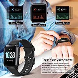Letsfit Smart Watch, Fitness Tracker with Heart Rate Monitor, Activity Tracker with 1.3″ Touch Screen, IP68 Waterproof Pedometer Smartwatch with Sleep Monitor, Step Counter for Women and Men